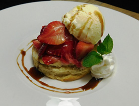 Strawberry Shortcake. Purple Haze Gelato, Minted Balsamic Syrup. Dessert at Ab Lib in Harrisburg