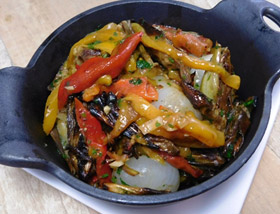 Roasted Artichokes. Peppers, Cipollini Onions. Dinner at Ad Lib in Harrisburg