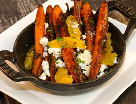 Charred Heirloom Carrots. Cypress Grove Purple Haze Goat Cheese, Citrus. Dinner at Ad Lib in Harrisburg