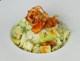 Caesar Salad with Sundried Tomato Bagel Crisps, Piave, Anchovy, House Dressing. Lunch at Ad Lib in Harrisburg.