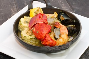 Seafood Bake with Shrimp, Lobster, Mussels, Corn on the Cob, Lemon. Dinner at Ad Lib in Harrisburg.