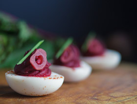 Deviled Red Beet Eggs with Pickled Shallots, Beet Mousse, Paprika. Lunch at Ad Lib in Harrisburg