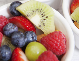 Seasonal Fruit with raspberries, blueberries, strawberries, kiwi, grapes. Breakfast at Ad Lib in Harrisburg.