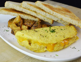 Omelet My Way with Breakfast Potatoes and Toast. Breakfast at Ad Lib in Harrisburg.