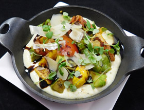Patti Pan Squash with Creamy Polenta, Tomatoes, Parmesan, Micro Basil. Lunch at Ad Lib in Harrisburg