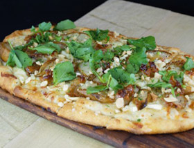 Roasted Pear and Brie Flatbread. Guanciale, Lambs Lettuce, Almonds, Orange Honey. Dinner at Ad Lib in Harrisburg