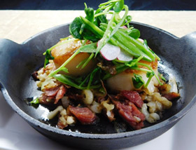 Barnegate Light Diver Scallops. Spring Onion, Ham Hock, Scallop Spaetzle, Sugar Snap Peas. Dinner at Ad Lib in Harrisburg