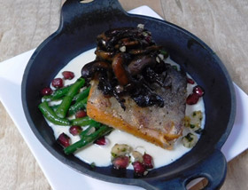 Steelhead Trout with Long Beans, Honeyed Mushrooms, Hazelnut and Pomegranate Gremolata. Lunch at Ad Lib in Harrisburg.