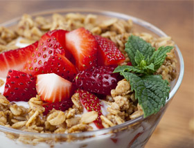 Yogurt Parfait with Strawberries, Granola. Breakfast at Ad LIb in Harrisburg
