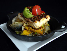 Grilled Rockfish with Polenta, Grilled Corn Succotash, Middleneck Clams, Tomato Salad at Ad Lib Restaurant in Harrisburg