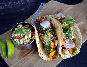 Black Cod and Pork Belly Tacos with Avocado, Shishito, Tomato, Mango, Adobo, Cotija at Ad Lib in Harrisburg