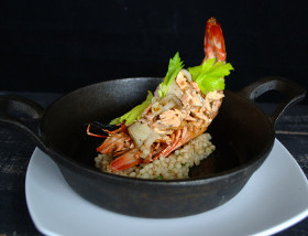 Stuffed Skull Island Prawn with Cape D'or Salmon, Barley, Cippollini, Celery, Citrus, Mint at Ad Lib in Harrisburg